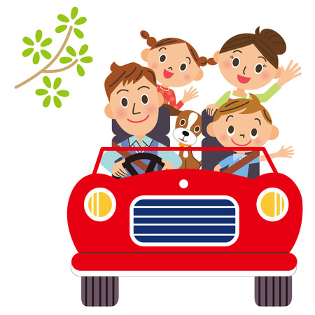 家族でドライブに行く  イラスト・ベクター素材