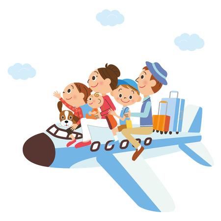 それは飛行機の中で家族の休暇  イラスト・ベクター素材