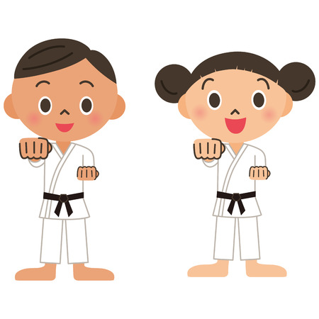 Judo, karate, child Vector