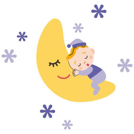 sleeps: The baby who sleeps with moon