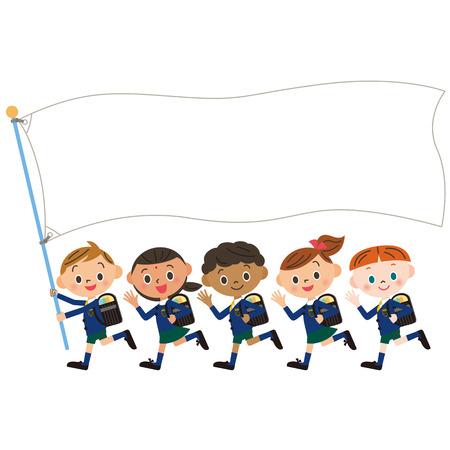 infant school: Children and flag of the, Shinnyu study