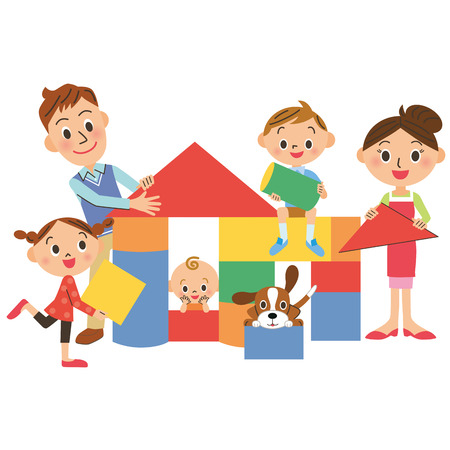 house and family Vector
