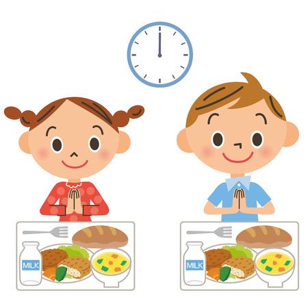 昼食を食べる子ども