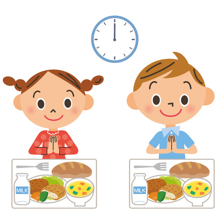 The child who eats lunch Vector