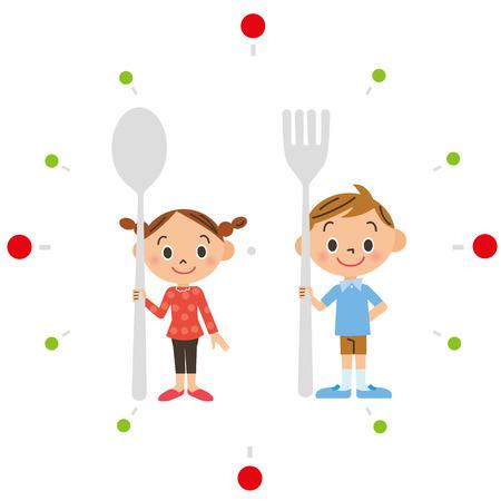 スプーンとフォークを持つ子供