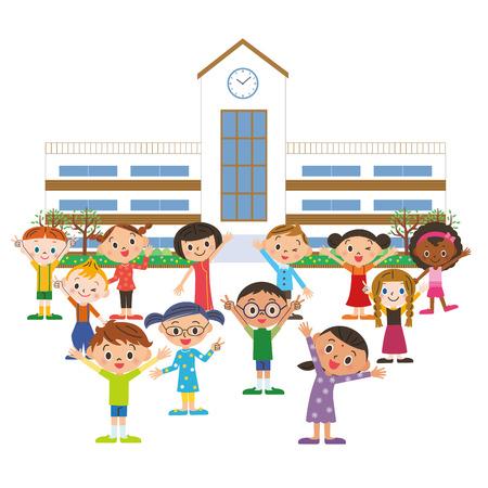escuela primaria: Los ni�os van a la escuela Vectores