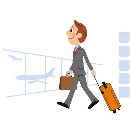 viaje de negocios: El hombre que se va de viaje de negocios en el extranjero Vectores