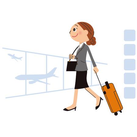 viaje de negocios: La mujer que va en un viaje de negocios en el extranjero