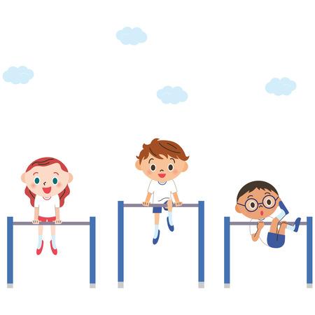 educacion fisica: El niño que muele una barra horizontal Vectores