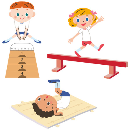 educacion fisica: El niño que ejerce Vectores