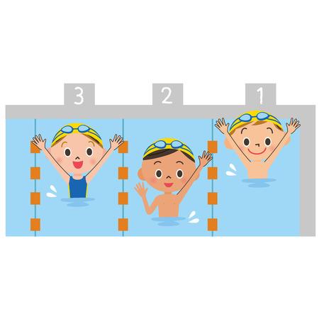 nadar: Ni�os jugando con una piscina