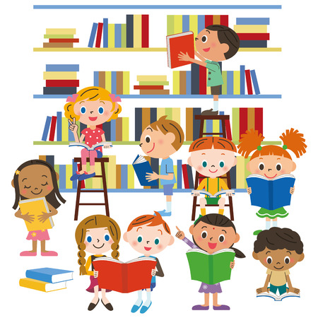 Kinderen het lezen van een boek in een bibliotheek Stock Illustratie