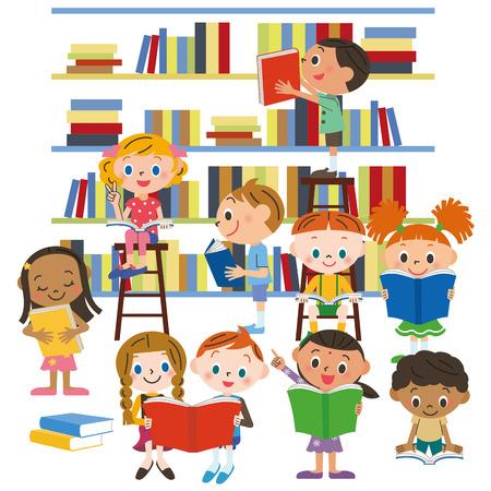 niños leyendo: Niños que leen un libro en una biblioteca Vectores