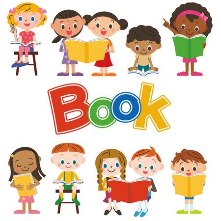 Los niños que leen un libro