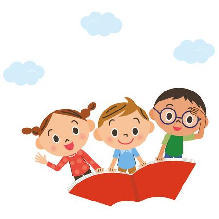 diligente: El niño que vuela en el cielo en un libro