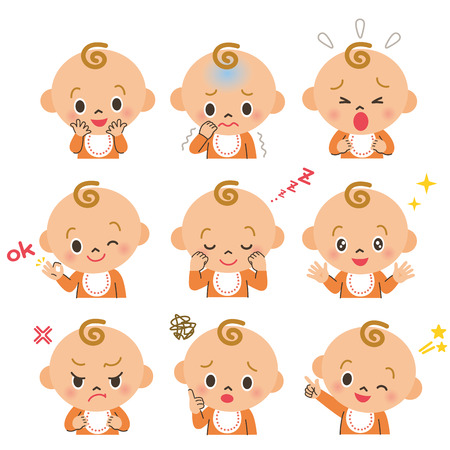 Various expressions of the baby