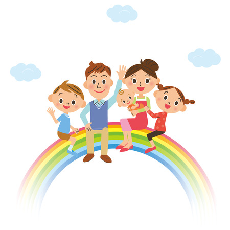 The happiness family who gets on the rainbow
