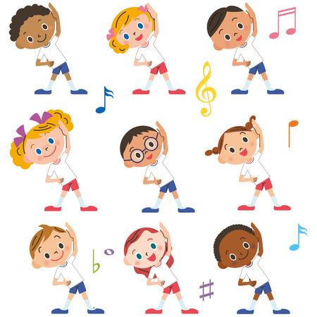 calisthenics: Children do a warm-up Illustration