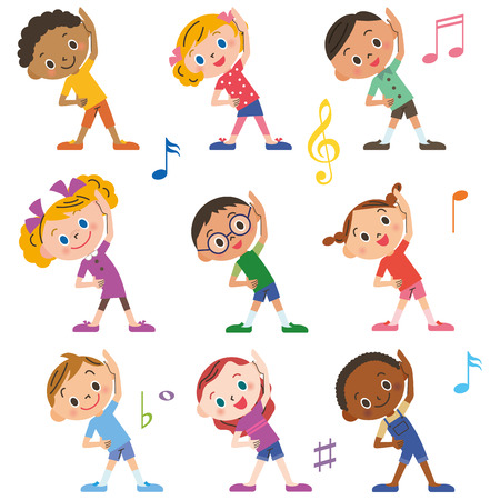 keep fit: The child who does radio exercises Illustration