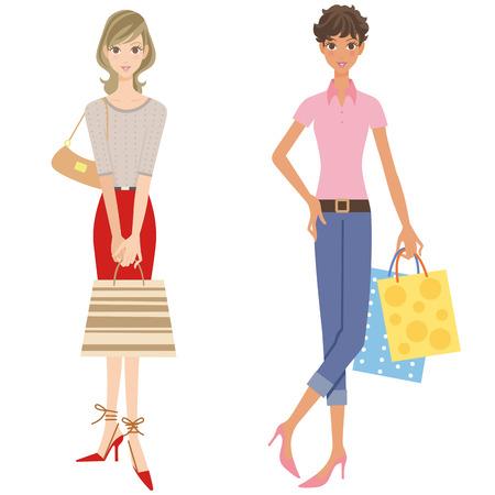 older woman smiling: Women doing shopping Illustration