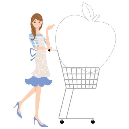 ショッピング カートと主婦  イラスト・ベクター素材