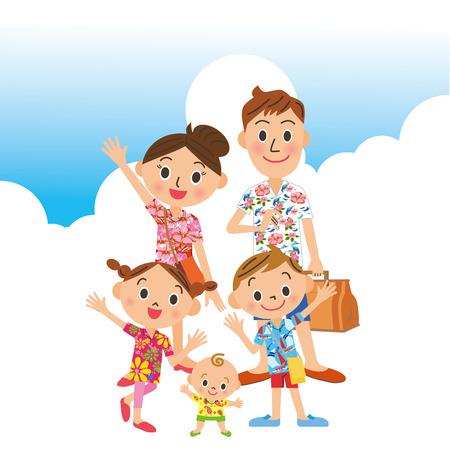 家族で旅行夏  イラスト・ベクター素材