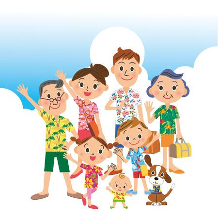 第三世代家族旅行夏 写真素材 - 30044707