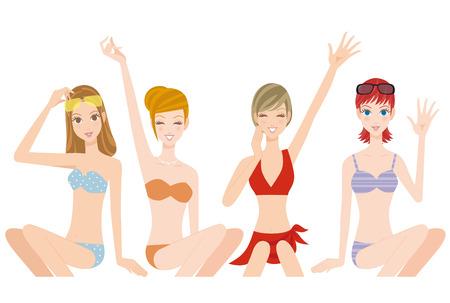 four friends: Four women in a swimsuit