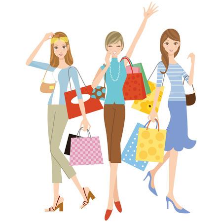 買い物をしている女性  イラスト・ベクター素材