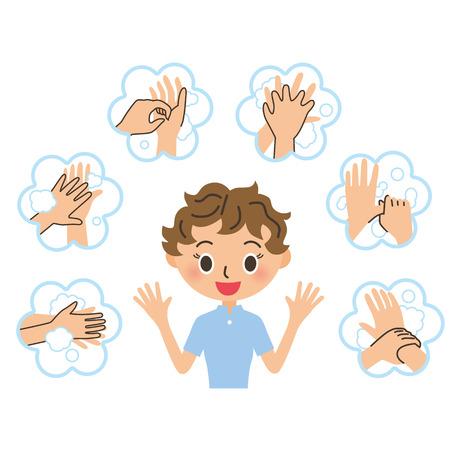 La mujer que explica el, lavado de manos Vectores
