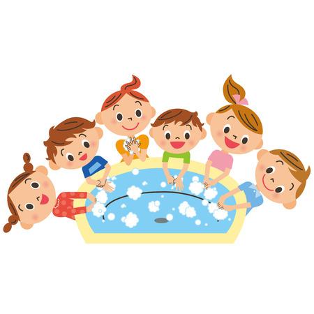 Children washing, hand Ilustração