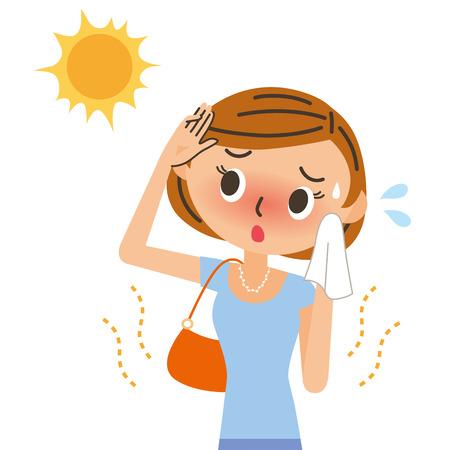 Ilustración quemaduras solares UV para las mujeres