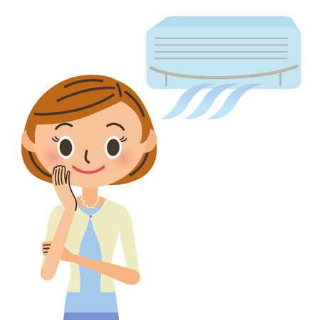 The woman who is comfortable with an air-conditioner Ilustração