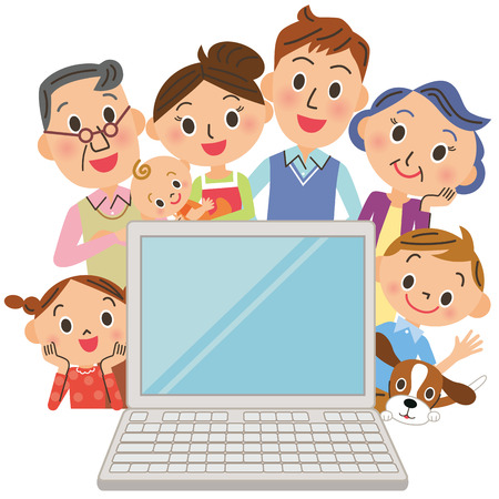 ni�os de compras: Observo un PC en la tercera generaci�n, las familias Vectores