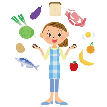 mujer en el supermercado: Housewife ingredientes de alimentos Vectores