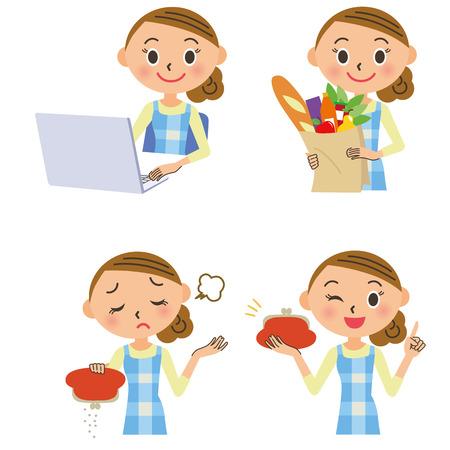 Huisvrouw gezinsbudget PC winkelen Stock Illustratie