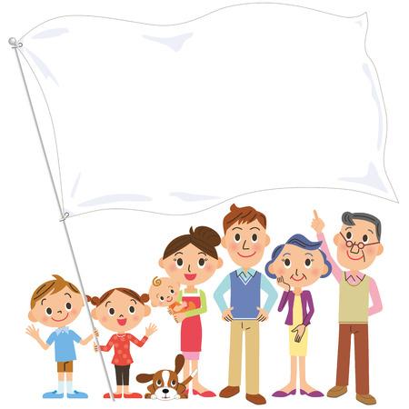 apoyo familiar: Reunión de la familia que tiene una bandera