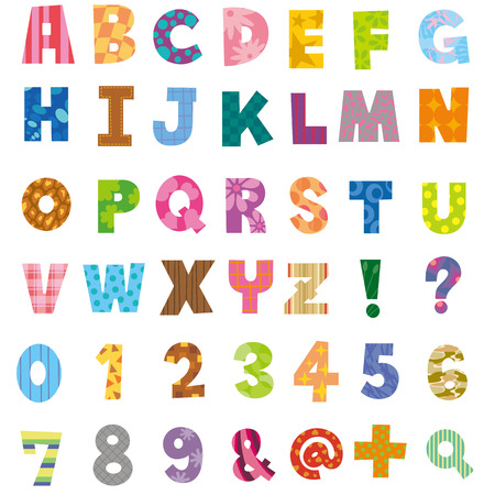 アルファベットと数字  イラスト・ベクター素材