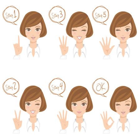 女性の指のポーズ