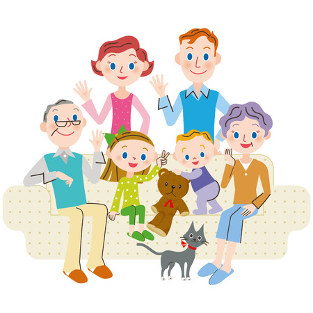 three generations: The third generation family living foreigner Illustration