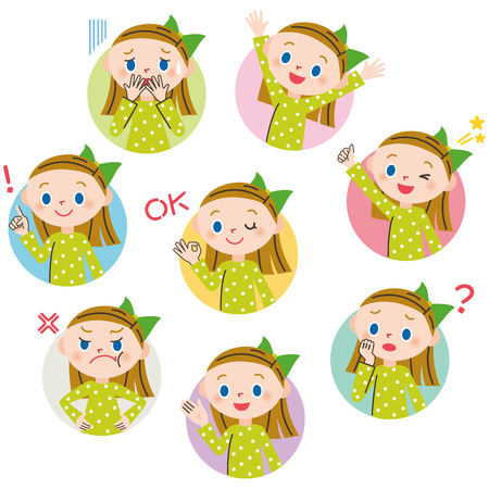 plural: Child pose expression of the woman Illustration