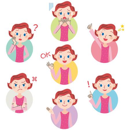 mujer enojada: Mamá pose expresión Vectores
