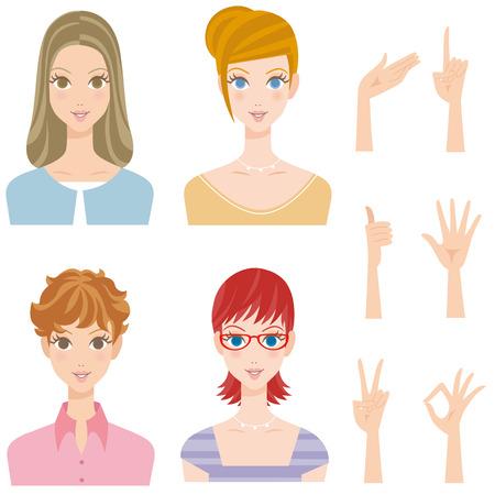 cut short: Various woman pose hairstyle smiles