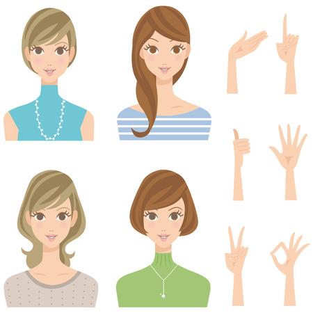 Various woman pose hairstyle smiles