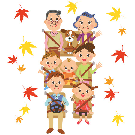 back belt: It is autumn good families Illustration