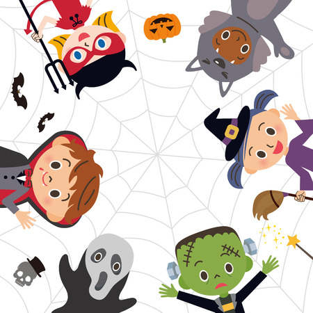 three cornered: Halloween children in costumes