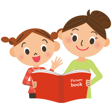 Mother and the child who read a picture book Vector