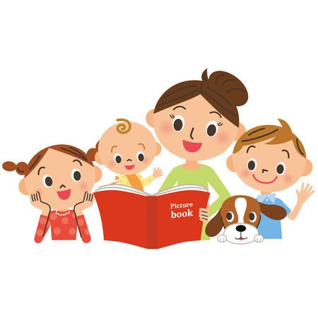 Children gathering for mother reading a picture book Stock Illustratie