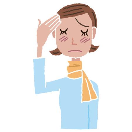 titreme: Soğuk bir baş ağrısı olan kadın Çizim