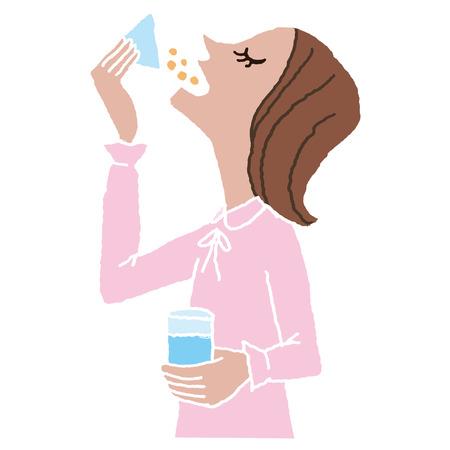 fiambres: mujer que toma la medicina